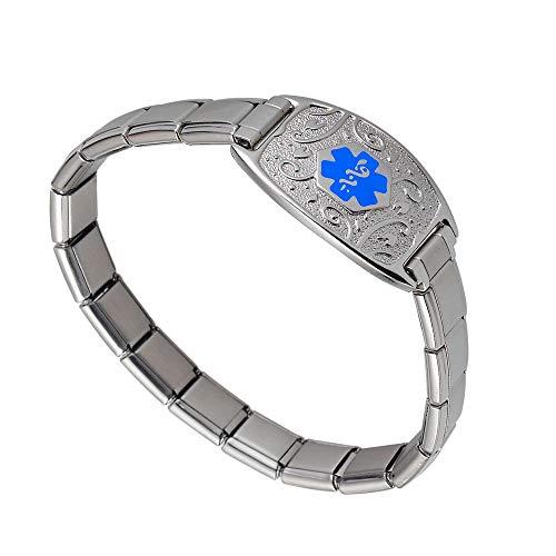 Divoti Deep Custom Laser Engraved Lovely Filigree Stretchable Italian Modular Charm Link Medical Alert Bracelet -Italian Charm Style -Light Blue