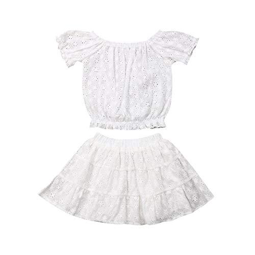 Toddler Baby Girls Lace Dress Set Short Sleeve Lace RuffleCrop Top Shirt + Floral Print Ruffle Skirt (4-5T, White)