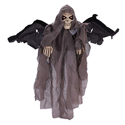 IBLUELOVER Skull Death Halloween Hanging Ghost Decorations Electronic Glowing Eyes Shake Wing Creepy Voice Skeleton Bat Hanging Ornament -