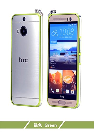 For M9+,DAYJOY Luxury Dual Color Ultra Thin Premium Aerospace Aluminum Metal Frame Bumper case support Lanyard Strip + 1PC tempered glass screen protector film for HTC ONE M9 PLUS (GREEN)