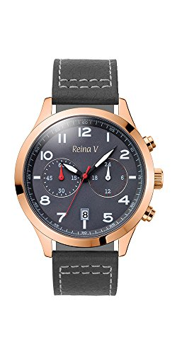 Men's Wrist Watch - Rose Gold Plated Stainless Steel With Dark Grey Genuine Leather Strap - Precision Chronograph, Japanese Quartz - Ryan Collection By Reina V