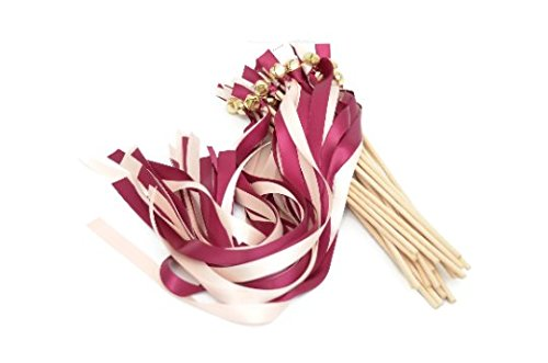 25 Sangria & Rose Petal Ribbon Gold Bell Wands #DivintiyBraid #WeddingWands #RibbonWands #Favors #CeremonySendOff -