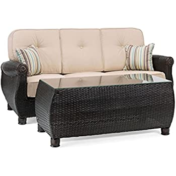 Amazon.com: Juego de sofá de mimbre de resina, la-z-boy ...