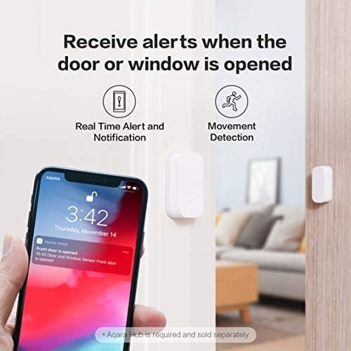 Aqara Door and Window Sensor, REQUIRES AQARA HUB, Zigbee Connection, Wireless Mini Contact Sensor for Alarm System and Smart Home Automation, Compatible with Apple HomeKit, Alexa 416hr94QoyL