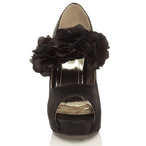 Femmes talon ouvert bout mariage pointure Noir escarpins chaussures sandales haut rrXqd