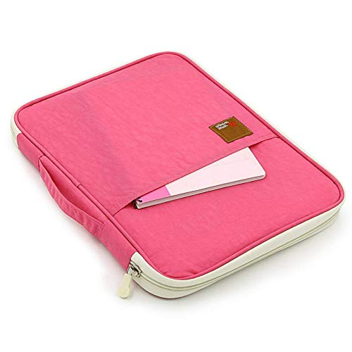 SCTD A4 Document Bags Portfolio Padfolio Organizer-Multi-Functional Waterproof Travel File Folder Case Zippered Note Pouch for Pads, Planners,Files, Notebooks, Pens, Documents (Pink)