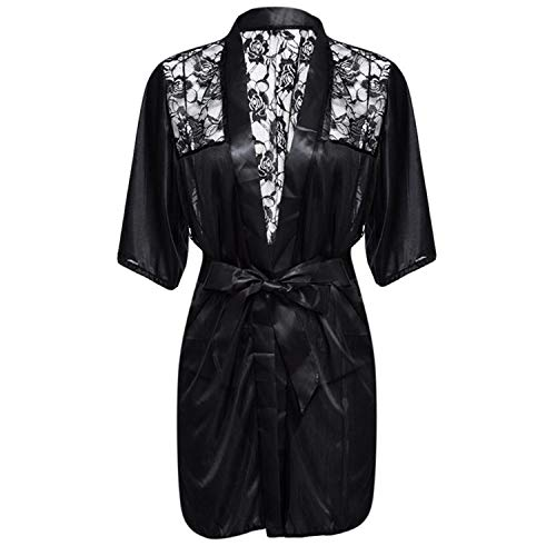 New Hot Sexy Lingerie Plus Size Satin Lace Black Kimono Intimate Sleepwear Robe Sexy Night Gown Women Ero