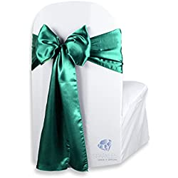 Sparkles Make It Special 10 pcs Satin Chair Cover Bow Sash - Emerald Green - Wedding Party Banquet Reception - 28 Colors Available