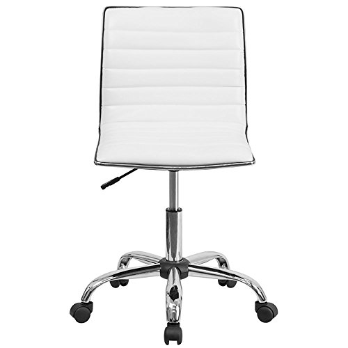 Flash Furniture Low Back Designer Armless White Ribbed Swivel Task (White Desk Chairs)