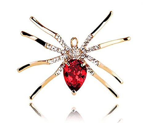 Hen-night St. Valentine's Day Gift Individuality Spider Pin Unisex Brooch Set Zircon. - Garnet Set Brooch