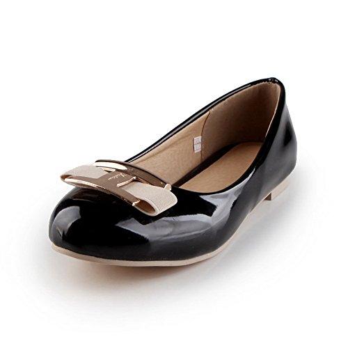 Balamasa Damessokken Antislip Niet-sluitend Lakleder Platte Schoenen Schoenen Zwart