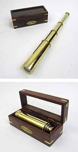 Three Level 15'' Pullout Brass Telescope in Wooden Box W/Plaque