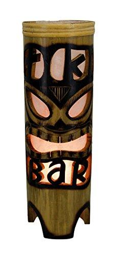 11 3/4 Inch Tiki Bar Island Style Cylindrical Bamboo Accent Lamp -