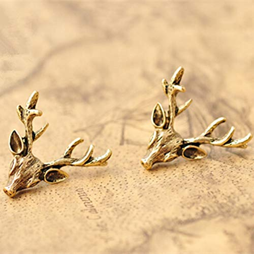 HATOLY E062 Vintage Deer Antlers Stud Earring for Women Girls Exquisite Antique Gold Color Stud Earring Statement Ear Jewelry Wholesale