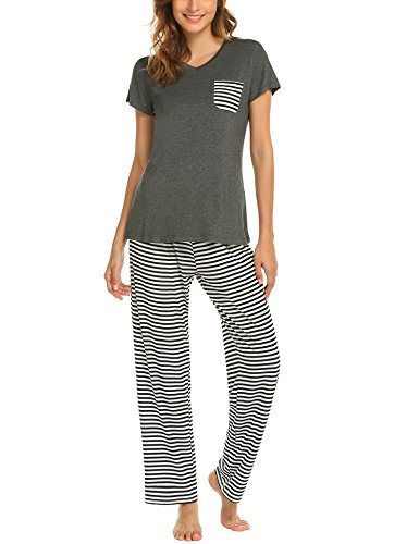 Hotouch Womens Pajama Set Striped Short Sleeve Top & Pants Sleepwear Pjs Sets Dark Grey XXL ()