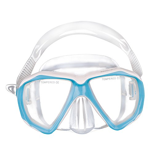Kids Junior Boy Girl Diving Masks Silicone Anti Fog Anti Leak Dive Swimming Goggles Tempered Glass Lens Watertight Wide Clear View Safety Glasses Scuba Swim Diving Snorkeling Mask for Child Age 5-12Y