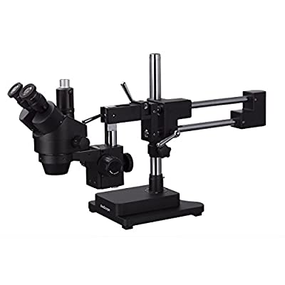 AmScope 3.5X-180X Trinocular Stereo Zoom Microscope with Black Double Arm Boom Stand