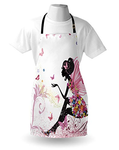 Ambesonne Fantasy Apron Fairy Girl With Wings In A Floral Dress Fantasy Garden Flying Butterflies Unisex Kitchen Bib With Adjustable Neck For Cooking Gardening Adult Size Pink White