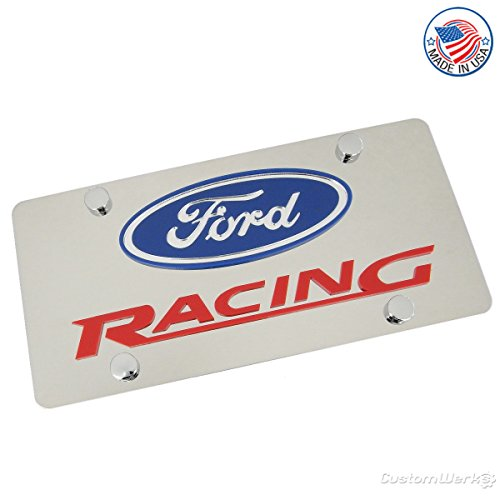 Ford Laser-Cut Logo & Racing Name On Polished License Plate