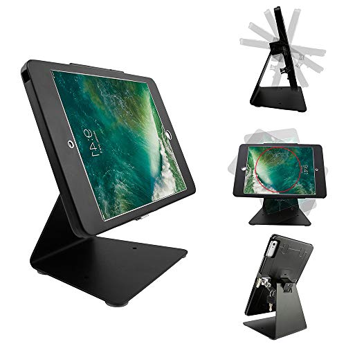 CarrieCathy Desktop Anti-Theft Security Kiosk POS Stand Holder Enclosure with Lock&Key for Tablets, Compatible with iPad 10.5inch, Flip & Rotate Design