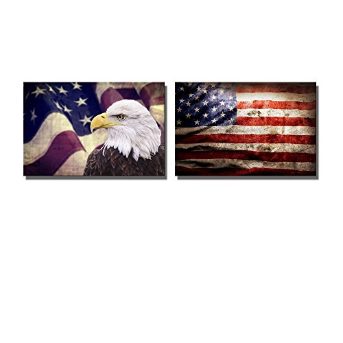 Bald Eagle with the Grunge American Flag Patriotic Concept Wall Decor ation x 2 Panels