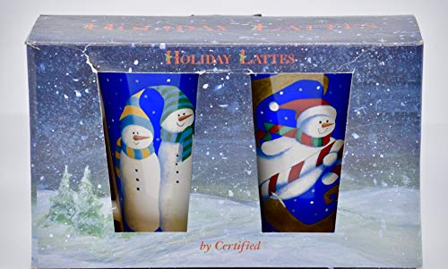 Holiday Lattes - Set of 2 Latte Mugs - 17 Ounces - Snowmen Winter Scenes - Dishwasher & Microwave Safe - CIC - Collectible