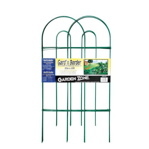 Origin Point 043210 Gard'n Border Round Folding Fence, Green, 32-Inch x 10-Feet -