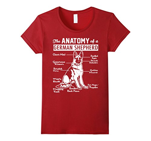 Womens The Anatomy Of A German Shepherd Shirt Small Cranberry