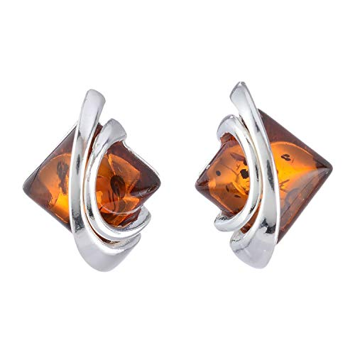 (Sterling Silver and Baltic Honey Amber Earrings