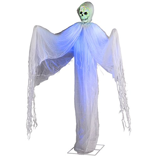 Halloween Lifesize Animated Standing Skeleton Ghost w/ Multi Color Led Kaleidoscope Lighted Skull -
