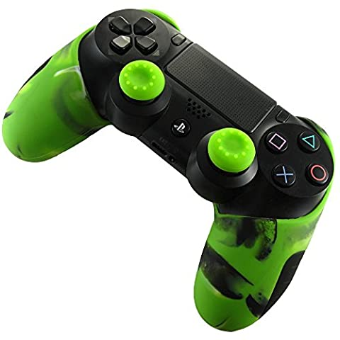 Pandaren Soft Silicone Thicker Half Skin Cover for PS4 /SLIM /PRO Controller Set (Camouflage Green skin X 1 + Thumb Grip X (Xbox 360 Aluminum Triggers)
