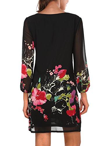 Pattern 4 Women's Fit DJT Floral Dress Black Chiffon Sleeve Loose 3 4 Tunic qHE7g7xRn