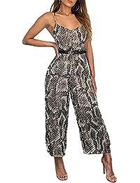 SUPEYA Womens Sexy Leopard Print Spaghetti Strap Backless Wide Leg Jumpsuit Rompers