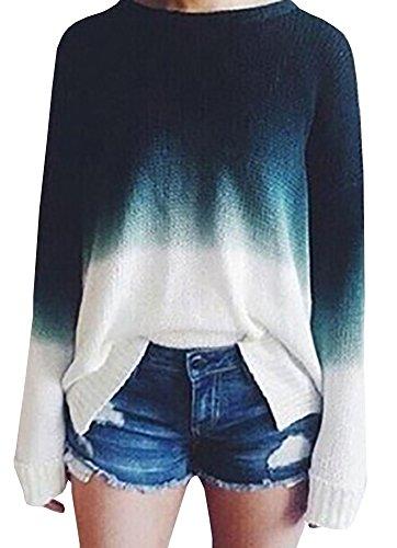 Baifern+Women%27s+Gradient+Long+Sleeve+Pullover+Sweaters%2C+Blue%2C+Medium