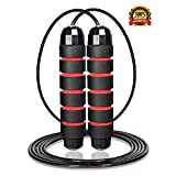 Llife Jump Rope Fitness Skipping Rope with 9feet Length Adjustable Cables 6inch EVA Comfort Handle and Tangle-Free Ball Bearing Rapid Speed Jumprope for Fitness Gym MMA Boxing Aerobic Exercise Home Training,Black Red.