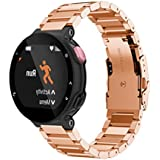 Stainless Steel Watch Band Strap,Ninasill For Garmin Forerunner 220 230 235 630 620 Watch Strap (Rose Gold)