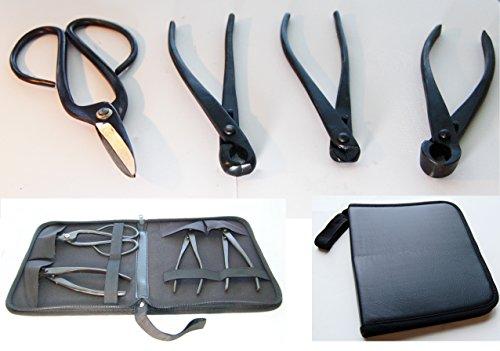U-nitt 4-pc Bonsai Tool Set Carbon Steel: concave cutter; wire cutter; knob cutter; large cutting scissors: in a Leather Case