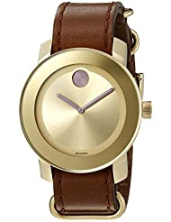 Movado Womens Swiss Quartz Brown Leather Casual Watch (Model: 3600363)