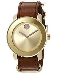 Movado Bold Yellow Gold-Sunray Dial Cognac Colorado Leather Ladies Watch 3600363