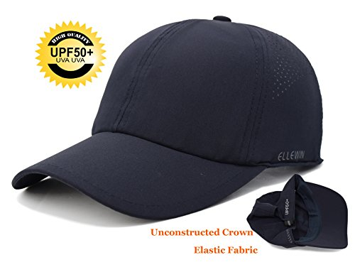 ELLEWIN Unisex Classic Plain Baseball Cap UPF 50+ Blank Solid Color Unstructured 6 Panel Hat Sun Protection with Breathable Mesh,Quick Dry Low Profile Dri Fit Sport Cap for Men and Women ()