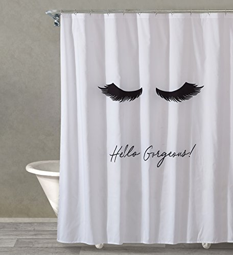 Style Quarters LASH OUT LOUD Shower Curtain - Black Lashes and Script 'Hello Gorgeous' on White Ground - Polyester - Buttonhole - Machine Washable - 1pc - 72