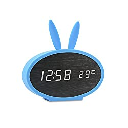 Huatop Wooden LED Alarm Clock, Sound Control Digital Desk Clock Display Time, Date, Temperature, with Rabbit Soft Silicon Cover for Children,Teens (Black/Blue)
