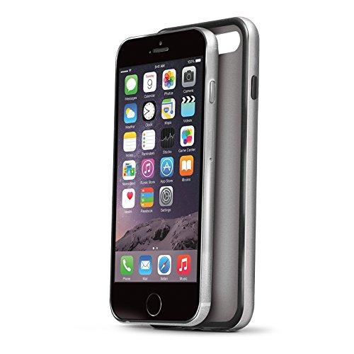 Celly BPCIPH6SV Silikon Bumper Schutzhülle mit Metall-Effekt für Apple iPhone 6/6S silber