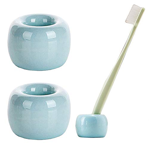 Airmoon Mini Ceramics Handmade Couple Toothbrush Holder Stand for Bathroom Vanity Countertops, Light Blue, Pack of 2