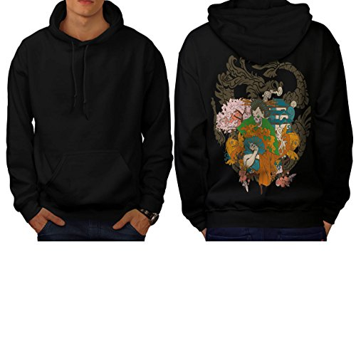[Horror Geisha Skull Evil Japan Men S Hoodie Back | Wellcoda] (Gothic China Doll Costume)