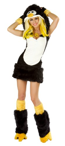 J. Valentine Women's Penguin Costume Zipper-Front with Attached Hood, Black/White/Yellow, Small ()