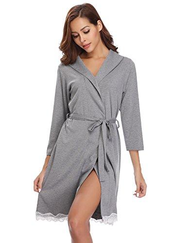 Elegante Scollo Kimono Cintura Grigio Spa Camicia V Pigiama con Donna Hotel per Cotone Nozze Kimono Donna da da a Pigiami Notte Vestaglie Lunga Vestaglia Notte Aibrou Sexy Ovfqaa