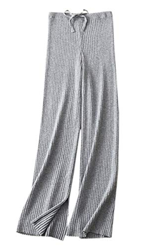 - SANGTREE Women's Solid Plain High Waist Drawstring Knit Wide Leg Cashmere Lounge Pants, Grey, US XS = Tag S
