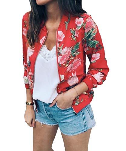 Floreale Cappotto Donne Outwear Rosso Collare Energia Del Basamento Lungo Casuale Manicotto Delle Zip gYAxwqxn1S