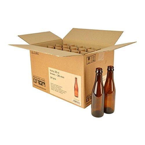Bouteille de bière Vichy 25cl, en carton 24ST.–réutilisables Marron mehrwegflasche en verre de bière Bouteille pour 26mm couronne Bouchon–0,25l Brewferm